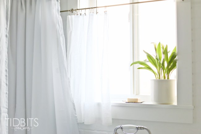 How To Make A Window Curtain Work For A Shower Curtain Tidbits - Bathroom shower curtains and window curtains
