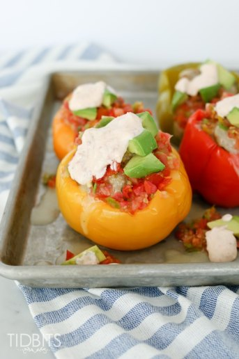 Mexican Stuffed Bell Peppers with Chipotle Lime Sauce | Pressure Cooker Recipe