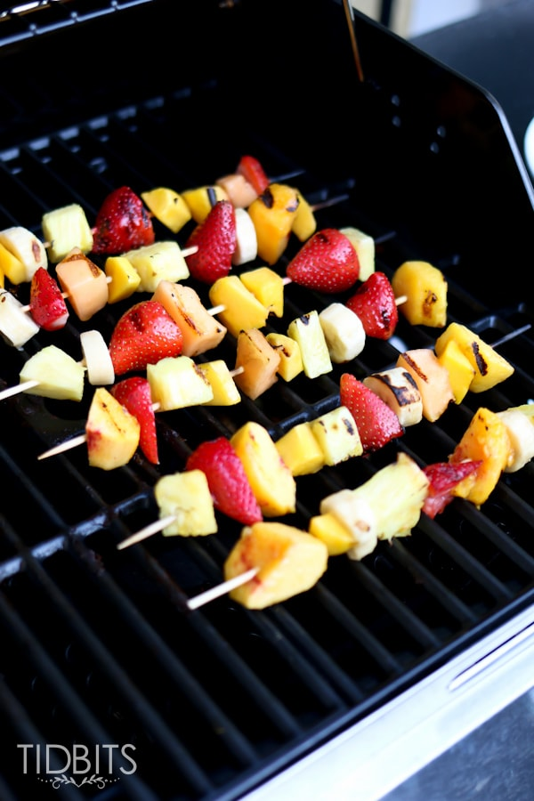 Grilled fruit skewers are a wonderful seasonal treat, and taste even better on top of ice cream!