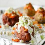 Pressure Cooker Buffalo Chicken Stuffed Potatoes