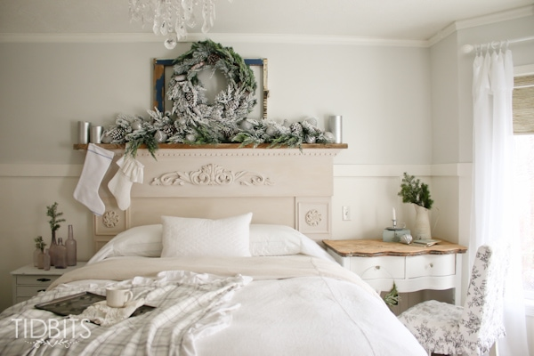 French Farmhouse Christmas Home Tour in the master bedroom.