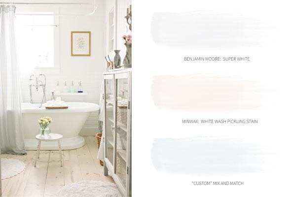 Light and Bright Cottage Paint Colors | TIDBITS whole house color scheme and paint names.