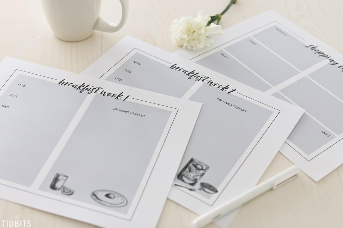 Breakfast Menu Planning Printables and Tips.