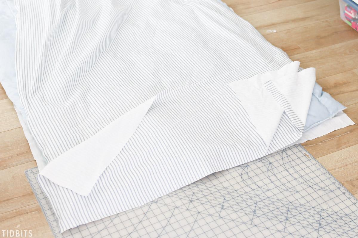 DIY Ruffled Duvet Cover Ticking Fabric