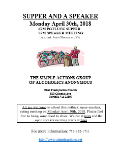 SUPPER & A SPEAKER by SIMPLE ACTIONS GROUP @ First Presbyterian Church | Norfolk | Virginia | United States