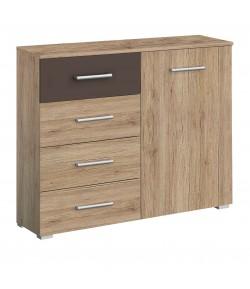 commode bambou 1 porte 4 tiroirs tidy home