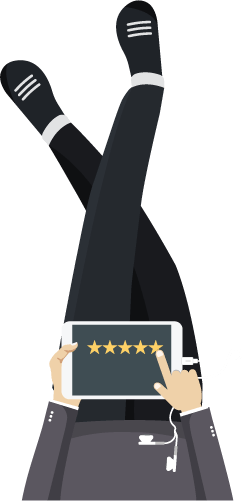 Picture of a cartoon figure sitting down using a tablet to review something online using star rating system