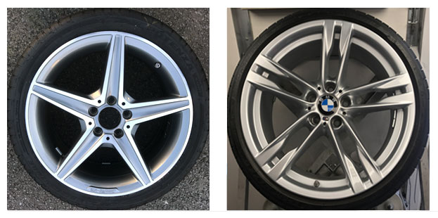 Picture of a Diamond Cut Alloy Wheel & Standard or Painted Alloy Wheel