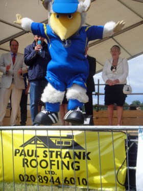 Haydon the Womble jumps off the stage at the Wimbledon Village Fair 2011