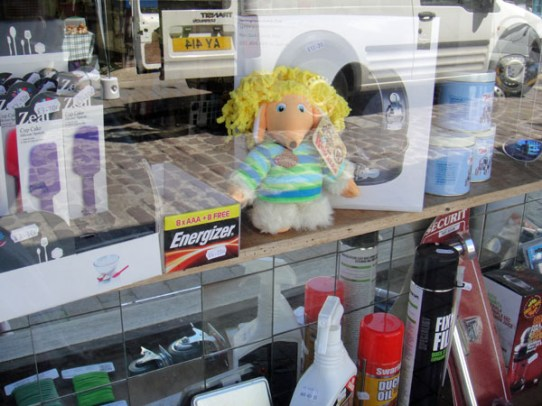 Alderney hides in the DIY shop window for the Womble Hunt