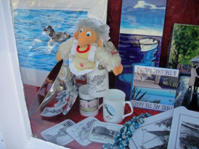 Madame Cholet hides in the gift shop window for the Womble Hunt