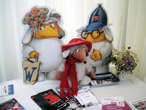 Wombles on the desk at Wimbledon BookFest