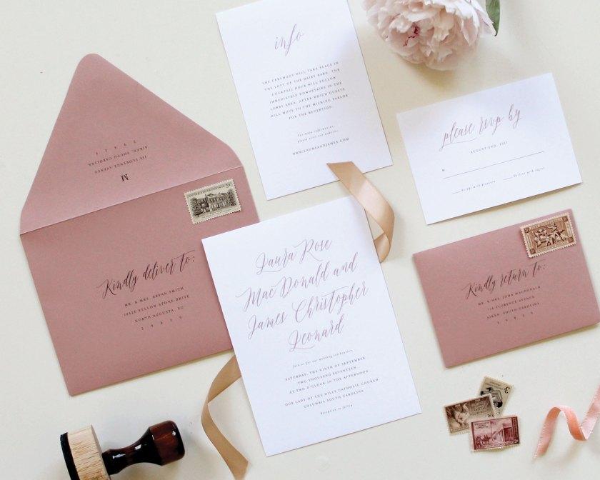 Dusty Rose Mauve Wedding Insert Card
