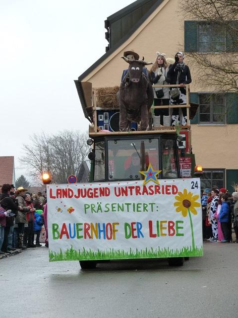 Faschingsumzug Obergünzburg 2014 - Landjugend Untrasried mit dem Bauernhof der Liebe