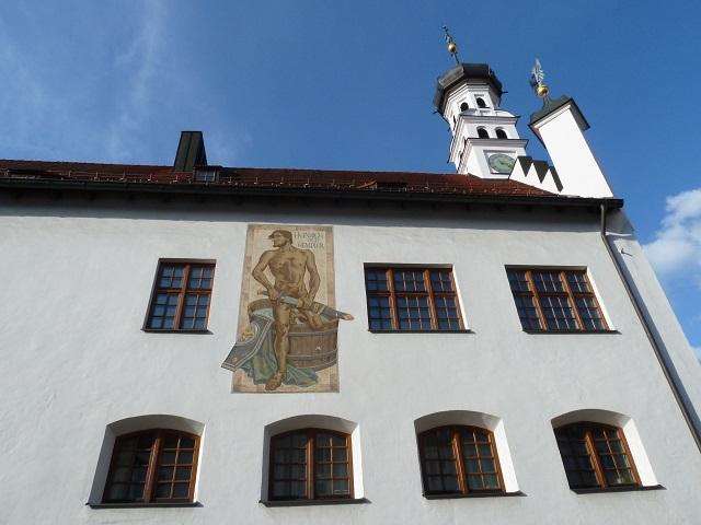 Rathaus Kempten - Wandausschnitt mit Gemälde