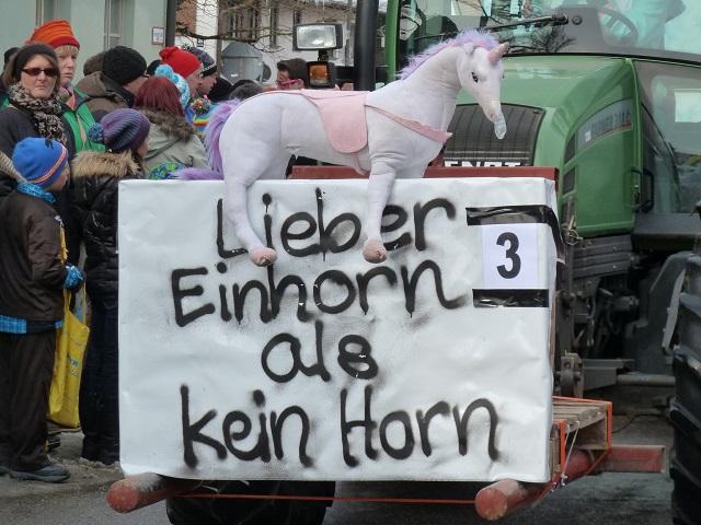 Lieber Einhorn als kein Horn auf dem Faschingsumzug Obergünzburg 2015