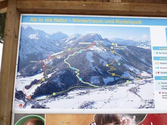 Rodeln am Imberger Horn - Karte mit den Rodelbahnen und Winterwegen