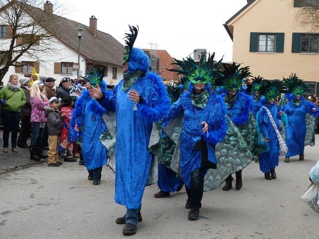 Gruppe blauer Pfauen auf dem Faschingsumzug Obergünzburg 2016