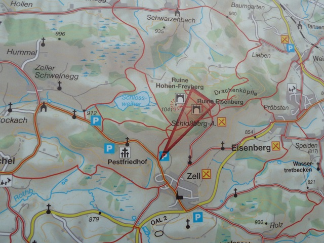 Wanderkarte zur den Burgruinen Eisenberg und Hohenfreyberg
