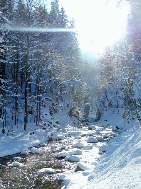Der Einstieg zur Breitachklamm im Winter