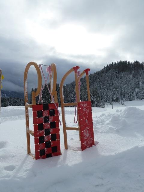 Schlitten im Schnee vor der Alpe Stubental