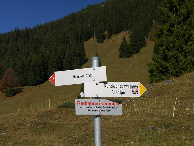 Wegweiser Rundwanderweg Seealpe am Nebelhorn