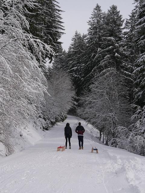Winterwanderung zur Gundhütte - zwei Rodler beim Aufstieg