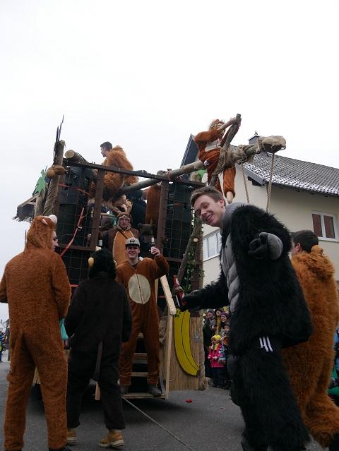 Die coolsten Affen aus dem Untrasrieder Dschungel auf dem Faschingsumzug Obergünzburg 2018