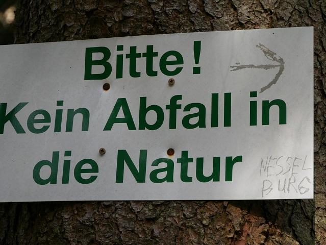 Wegweiser zur Ruine Nesselburg an der Alpspitz