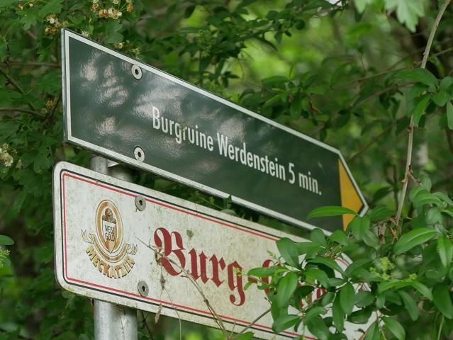 Wegweiser zur Burgruine Werdenstein