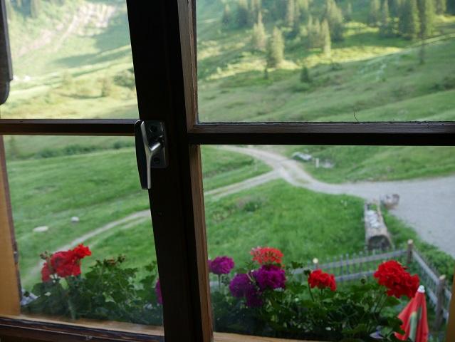 Blick aus dem Fenster der Burgl-Hütte