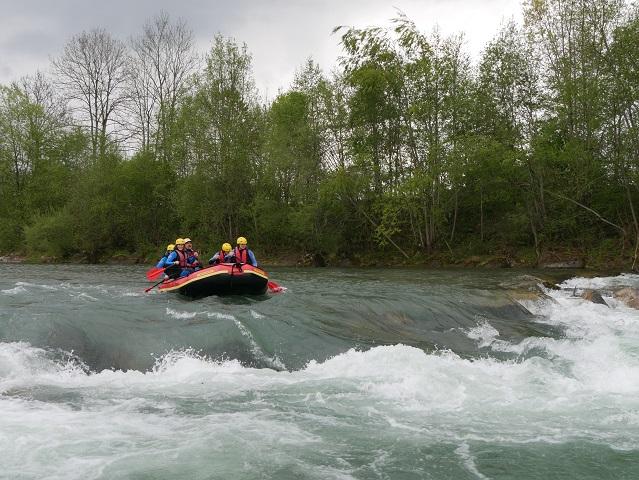 Raftingboot auf der Iller im Allgäu