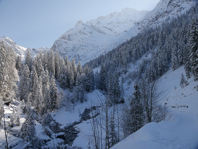 Winterwanderweg im Wildental im Kleinwalsertal