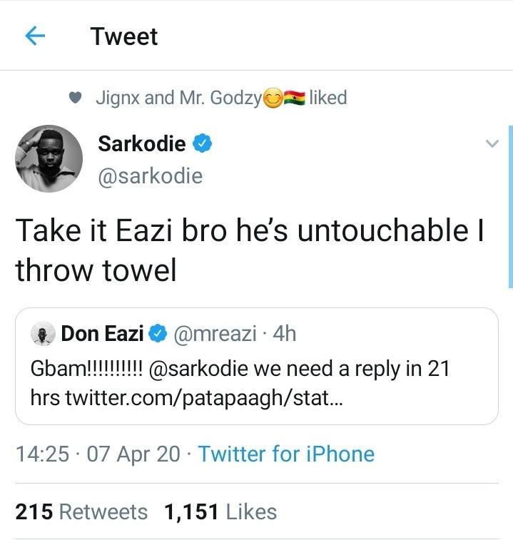 """""""Patapaa Is Untouchable"""" - Sarkodie Praises"""