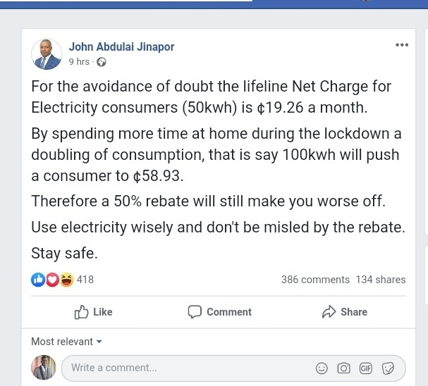 50% electricity cut will make your lives worse - John Jinapor to Ghanaians