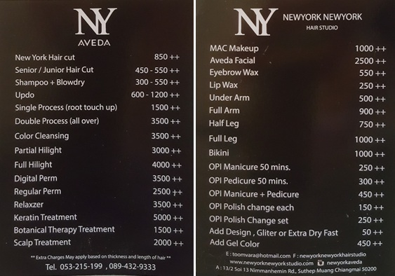 Chiang Mai Hair Salon: NewYork NewYork prices