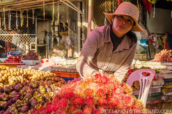 Thai Fruit Vendor in Ban Khlong Luek Border Market