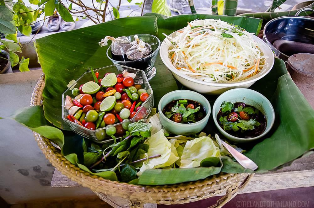 Ingredients for som tum Thai