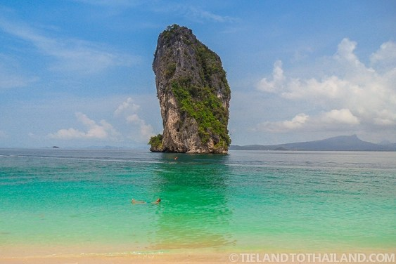 View of a tall rock from Poda Island