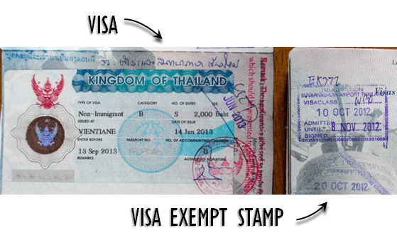 Thai Visa vs Thia Visa Exempt Stamp