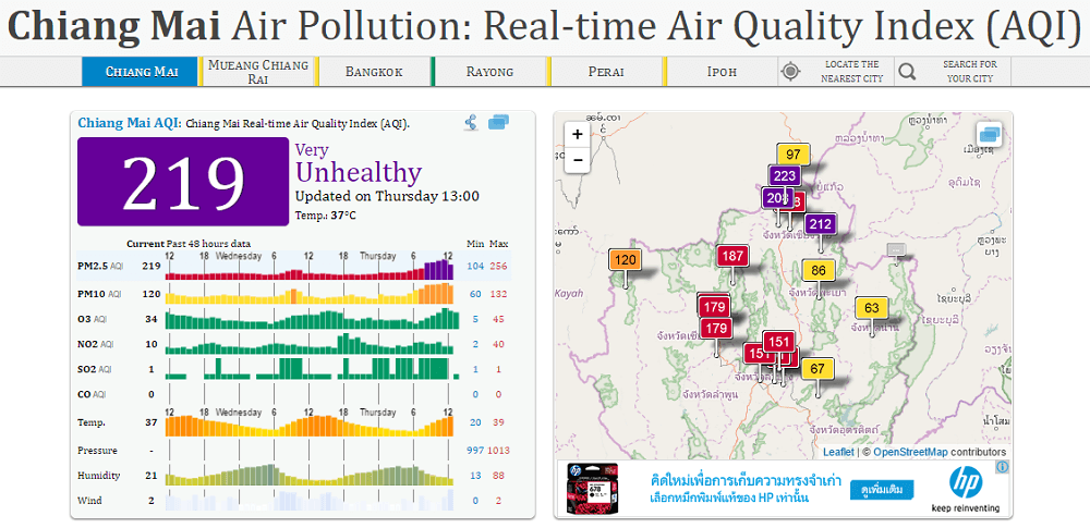 Chiang Mai AQI 219 March 2017