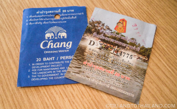 20 baht entrance tickets to Huay Tung Tao Lake