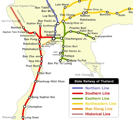 Thailand Railway Map