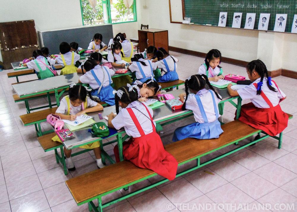 Little second graders in a Thai school