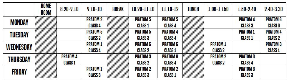 Teaching Schedule at a Thai school