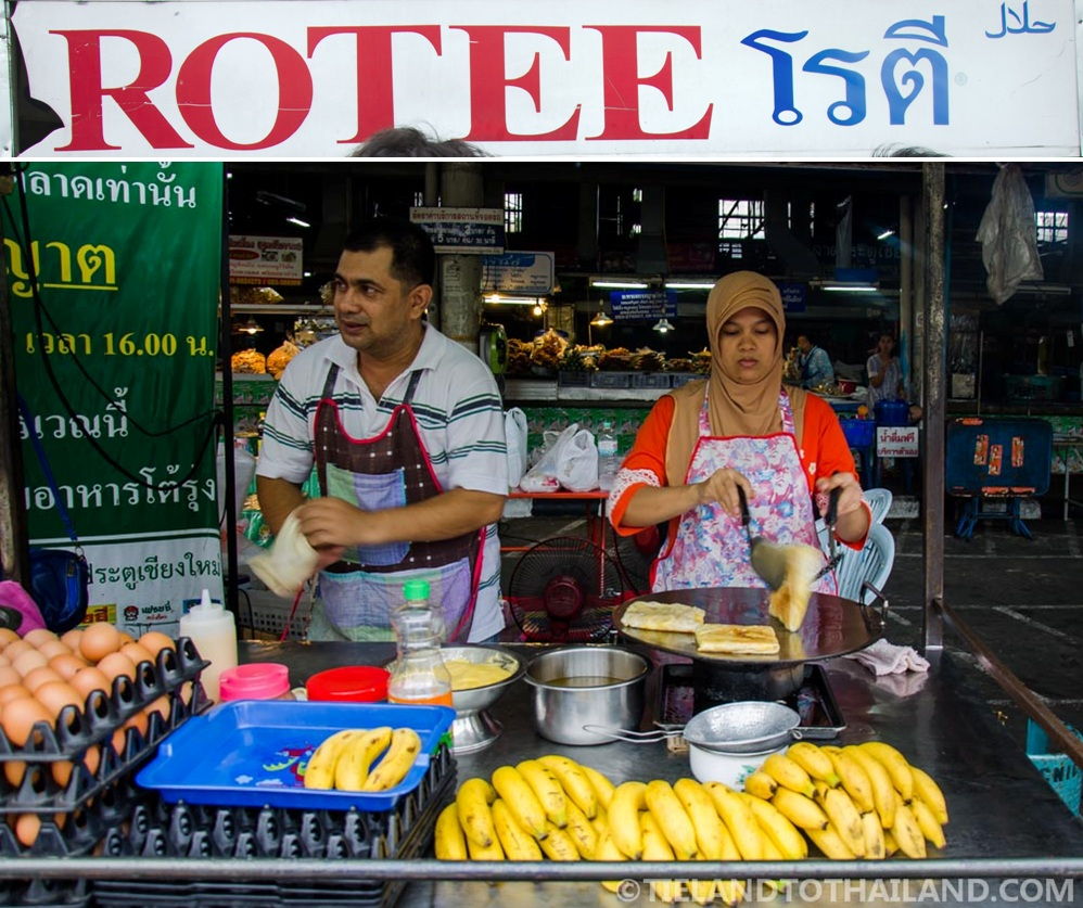 Husband and wife team making banana rotee at Chiang Mai Gate food stalls