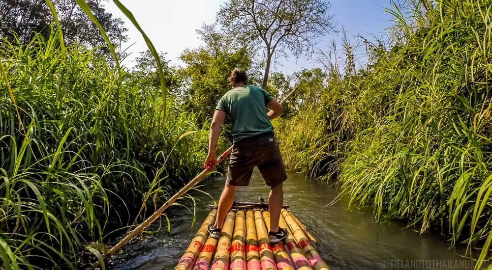 Self propelled bamboo rafting along the Mae Wang in Chiang Mai, Thailand