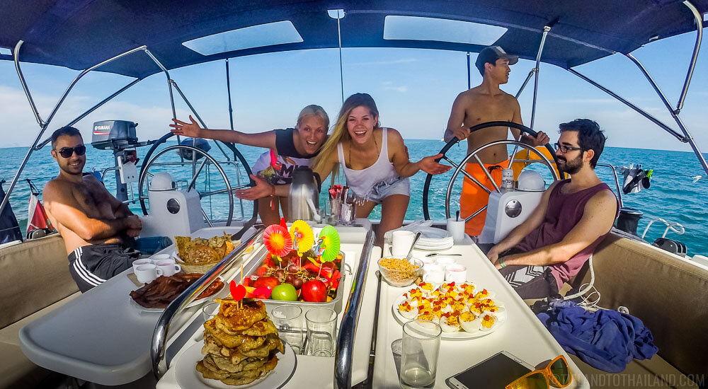 Happy skippers on The Yacht Week Thailand