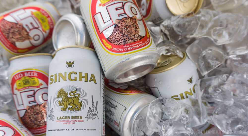 Cost of food in Thailand includes adult beverages like Leo and Singha