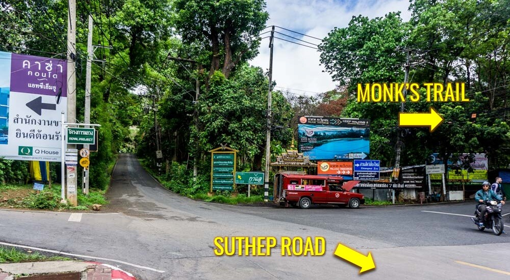 Hiking the monk's trail up Doi Suthep begins at the end of Suthep Road